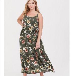 Torrid Olive Tiered Floral Challis Maxi Dress 0X